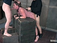 Debauched males tie up tempting colleens and fuck them hard in torture room