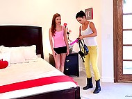 Cranky girl demonstrates curious roommate what is strapon and how to use it for fucking 4