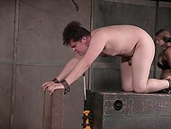 Толстый парень кричит, как девушка, когда доминантная госпожа использует электрошокер, чтобы поиграть с ним 11