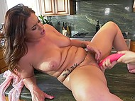 Cheerful girlfriends moistened their hairy pussies and began to play with double-sided dildo 11