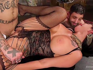 Vicious dominatrix with big boobs has sex in front of husband and even fucks hubby with strapon