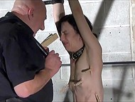 Bald pervert dominates over poor babe with sweet body but she gets great pleasure through pain 7