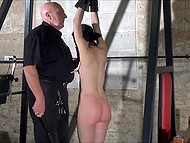Bald pervert dominates over poor babe with sweet body but she gets great pleasure through pain 9