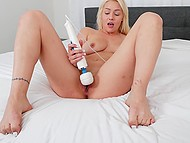Cheerful honey with golden hair and natural boobies makes pussy feel good using sex toy 10