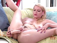 Light-haired girl slowly made her trimmed pussy ready for the upcoming activity with dildo 11