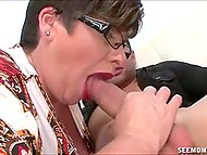 Short-haired lady with glasses gave blowjob and easily got sperm from young stepson 3