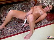 Mature woman with shaved pussy knows how to spend time with white vibrator on floor 10