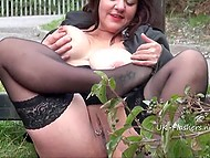 Fat Britain brunette with pierced nipples and pussy willingly flashes nudes by the road 6