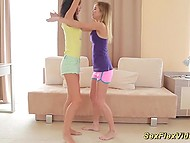 Two young sweeties get naked and demonstrate excellent flexibility and stretching 4