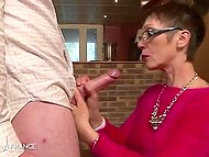 Unpredictable granny in stockings gives her wet peach for amazing fuck 4
