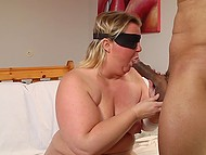 Fatty mature with great butt sucked cock before taking blindfold off and giving access to vagina