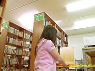 Nice youngster fucked and crempied small-waisted Japanese students in library 4
