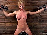Pervert tied up chesty blonde and forced her to seat on Sybian machine in basement 10