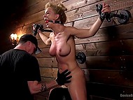 Pervert tied up chesty blonde and forced her to seat on Sybian machine in basement 3