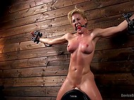 Pervert tied up chesty blonde and forced her to seat on Sybian machine in basement 7