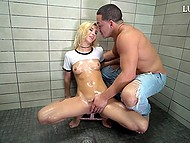 Good-looking blonde gave deepthroat blowjob and had rough fuck in shower 4