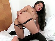 Asian sweet thing has no time to feel bored because hairy pussy needs to be stimulated very often 4