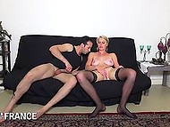French POV video of young man fucking trimmed pussyhole of pretty blonde in stockings 10