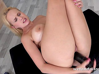 Stacked blonde Angel Wicky pissed in big martini glass and toyed pussy with black dildo