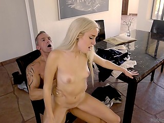 Strict stepfather punished his disobedient stepdaughter who behaved like a real whore