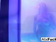 Divine girl takes a shower and caresses her superb body with special passion 4