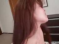 Bald male fucked shy-looking Japanese girl, whose pubis wasn't shaved for too long 10