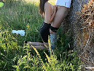 German farmer fucked black-haired girlfriend on haystack and creampied her anal hole 5