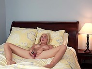Charming blonde with soft skin and sweet peach makes her sexy dreams come true 9