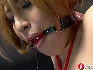 Dominant Japanese man doesn't stop pussy fingering and brings tied up redhead to squirt 5