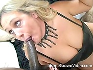 Favorite occupation of this blonde MILF is to suck black dicks of adult men 11