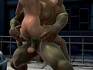 Big-boobied character of porn cartoon doesn't fear to take a ride on Hulk's giant weapon 5