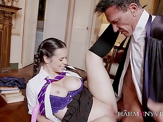 Young student wants to have good grades and get sexual experience so she goes to her teacher