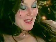 Guys drink a lot of champagne and start peeing in Danish girls' mouths in retro porn video 11