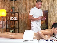Masseur gets impressed with British client's awesome shapes and throws her a leg after treatments 4