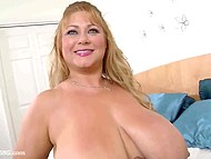 Golden-haired BBW lifts up ballet tutu going to please her unshaven vagina with fingers 11