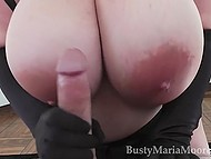 Black-haired mature with enormous baps handles erect boner with hands in lace gloves 4