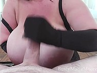 Black-haired mature with enormous baps handles erect boner with hands in lace gloves 7