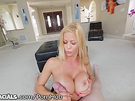 Blonde MILF with big tits seductively shakes her booty sucking cameraman's small cock 7