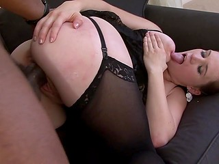 Intriguing dame with natural breasts gladly widened legs to get filled with huge black penis