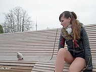 On the street noticeably colder, but the restless Jeny Smith continues to Shine bare pussy under the short skirt