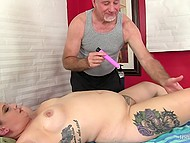 Mature masseur gives massage to plump princess and smoothly moves to her shaved pussy