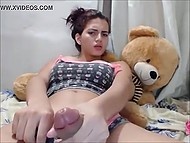 Viewers of web chat got convinced that ladyboy had not just huge boobs but also massive dick
