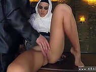 Wealthy pervert feeds shy-looking Arab in hijab to tickle her smooth pussy after this