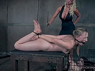 Strict woman and strong man punish two innocent girls to please their lust