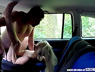 Blonde slut agrees to be fucked without rubber and driver takes picture of her pussy before sex in back seat