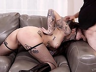 Insatiable Emo girl in fishnet stockings greedily swallows hot dick waiting in wings to have rough fuck 6