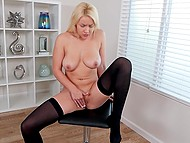 Long-haired blonde in black stockings showed tender spots and masturbated beautiful cunny alone 7