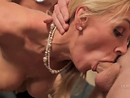 Two guys fuck stunning blonde in black stockings and nicely cover her face with sperm 7