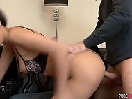 Excited guy had fantasy that splendid Latina chick sucks his cock and he fucks trimmed vagina 10