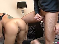 Excited guy had fantasy that splendid Latina chick sucks his cock and he fucks trimmed vagina 8